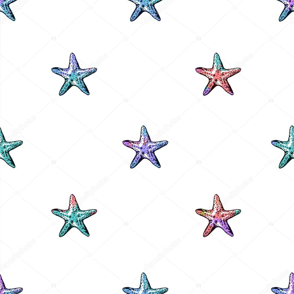 Exotic  starfishes colorful seamless pattern.