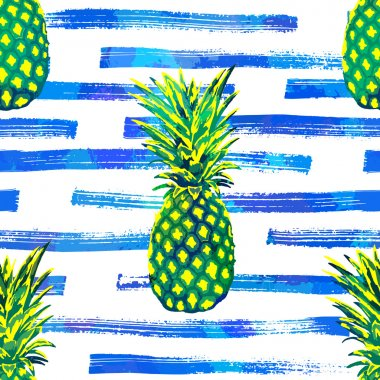 Seamless vector tropical pattern background with hand drawn pineapples.