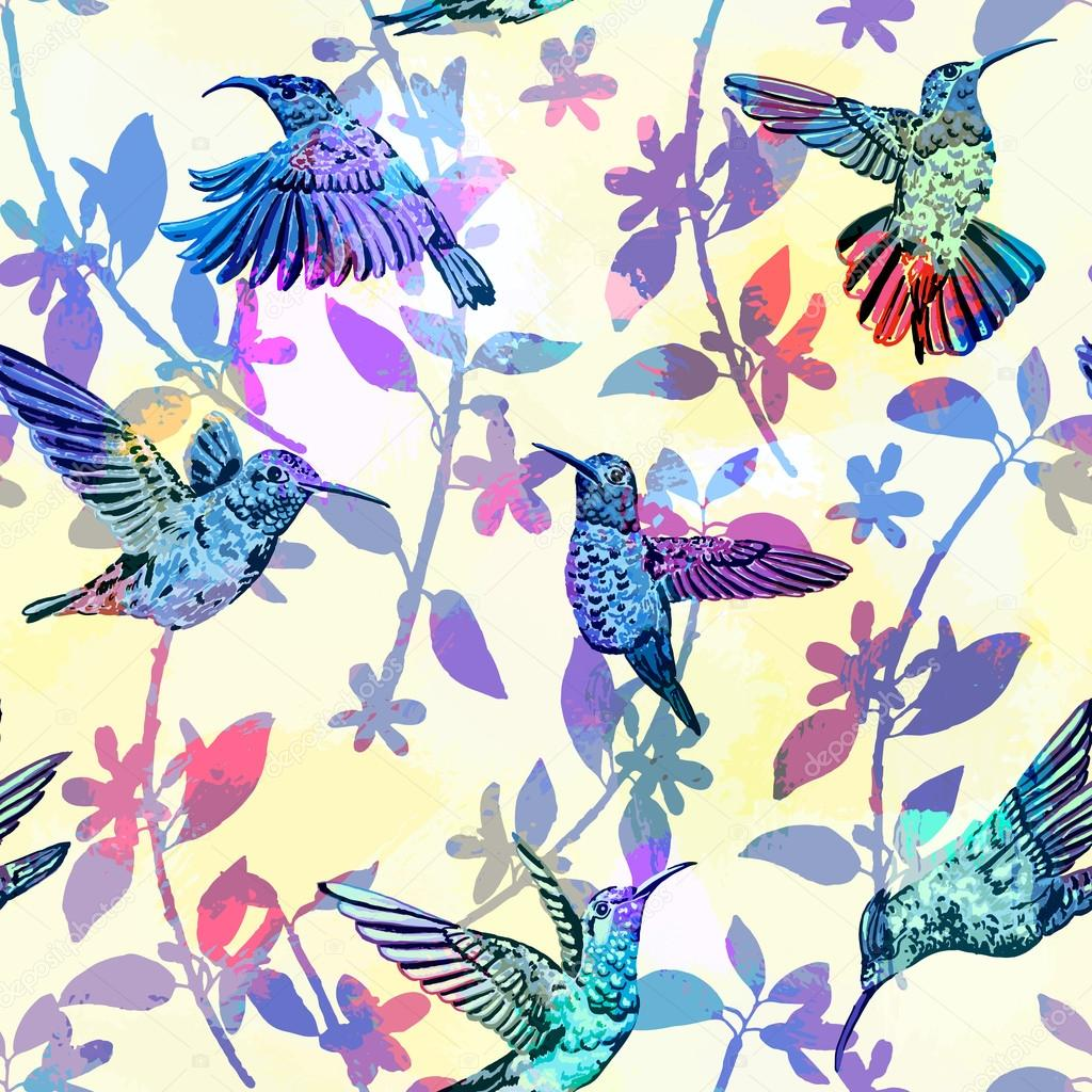 Hummingbird seamless pattern. Hand drawn tropical exotic colorful background.