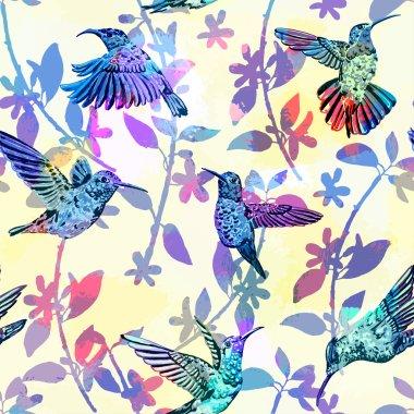 Hummingbirds seamless pattern.