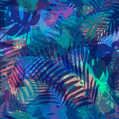 Seamless tropical pattern with palm leaves stock vector