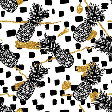 hand drawn pineapples pattern