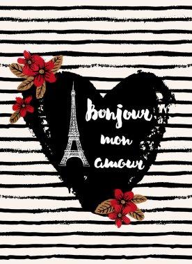 PARIS bonjour and Eiffel tower