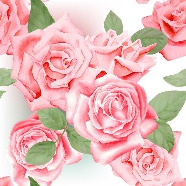 roses, leaves pattern