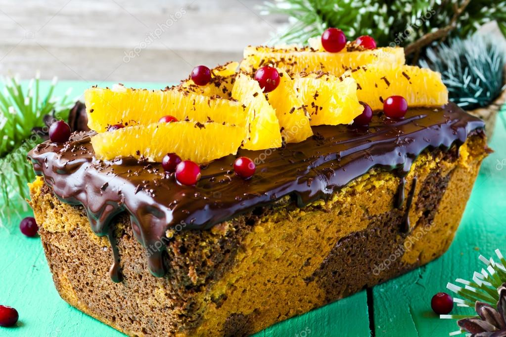 pumpkin cake with chocolate and oranges