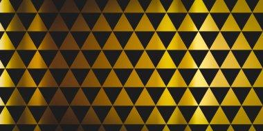 """Картина, постер, плакат, фотообои """"шаблон равносторонних золотых треугольников на черном с затенением. абстрактная иллюстрация. """", артикул 466134400"""