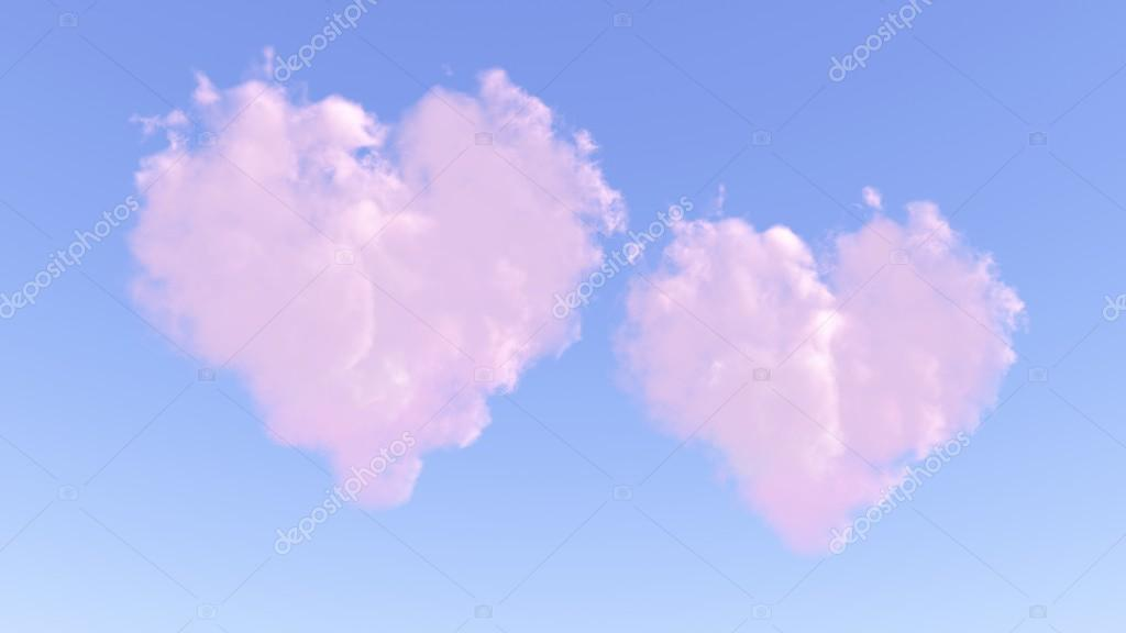 Two pink hearts from clouds