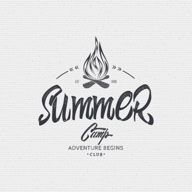 Summer Camp - badge, icon, poster, label, print, stamp, can be used in design and advertising