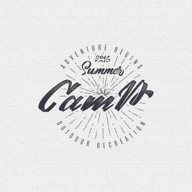 Summer Camp - badge, icon, poster, label, print, stamp, can be used in design