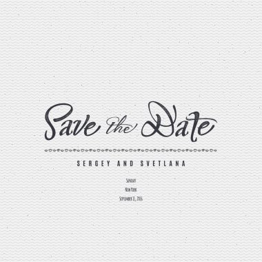 Save the date - calligraphic lettering badge label for design invitation