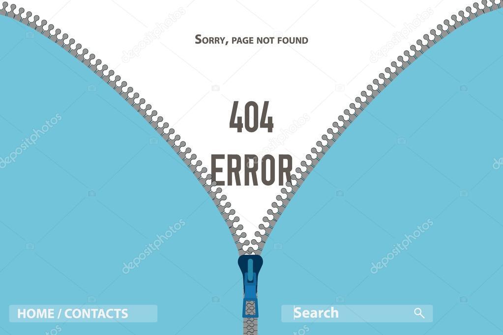 ページない見つけたエラー 404 ベクトル図を服の上のジッパー