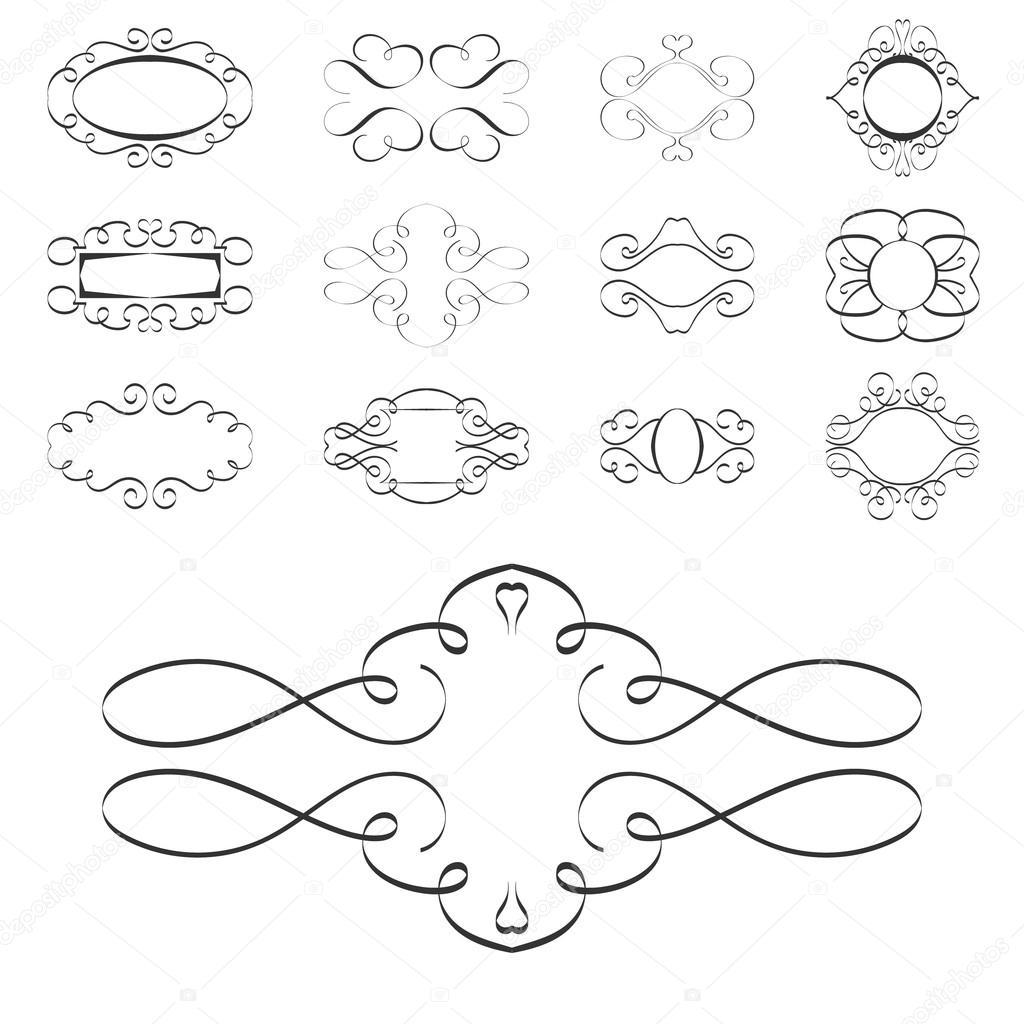 Kalligraphie-Design-Elemente, Seite Ornamente Vorlagen Etiketten ...