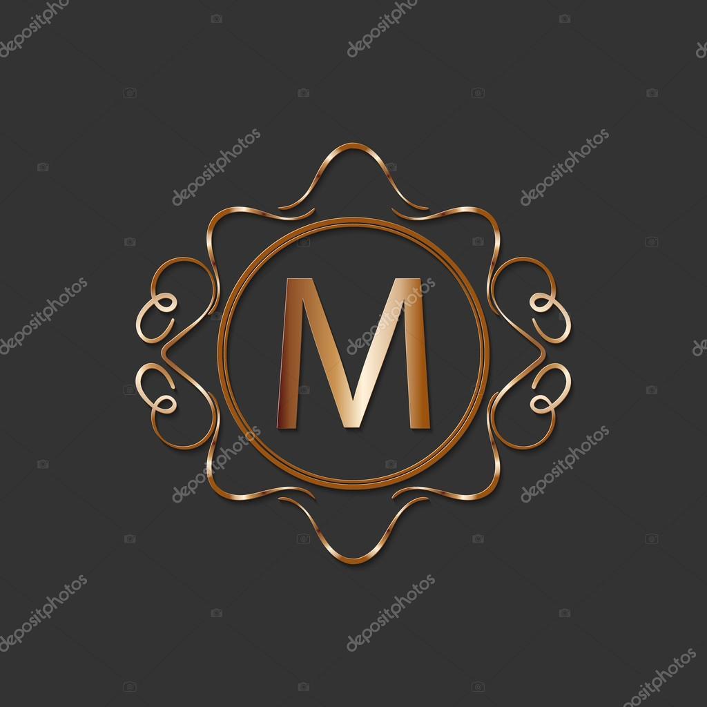 calligraphy monogram, vintage pattern logo