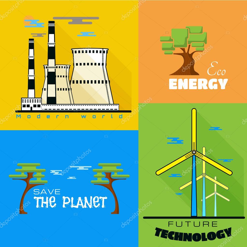 Ecology windmills, factories pollution