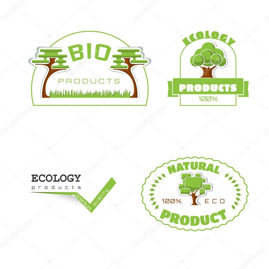 Ecology 100 percent natural stickers logos