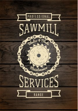 Sawmill service badges logos and labels