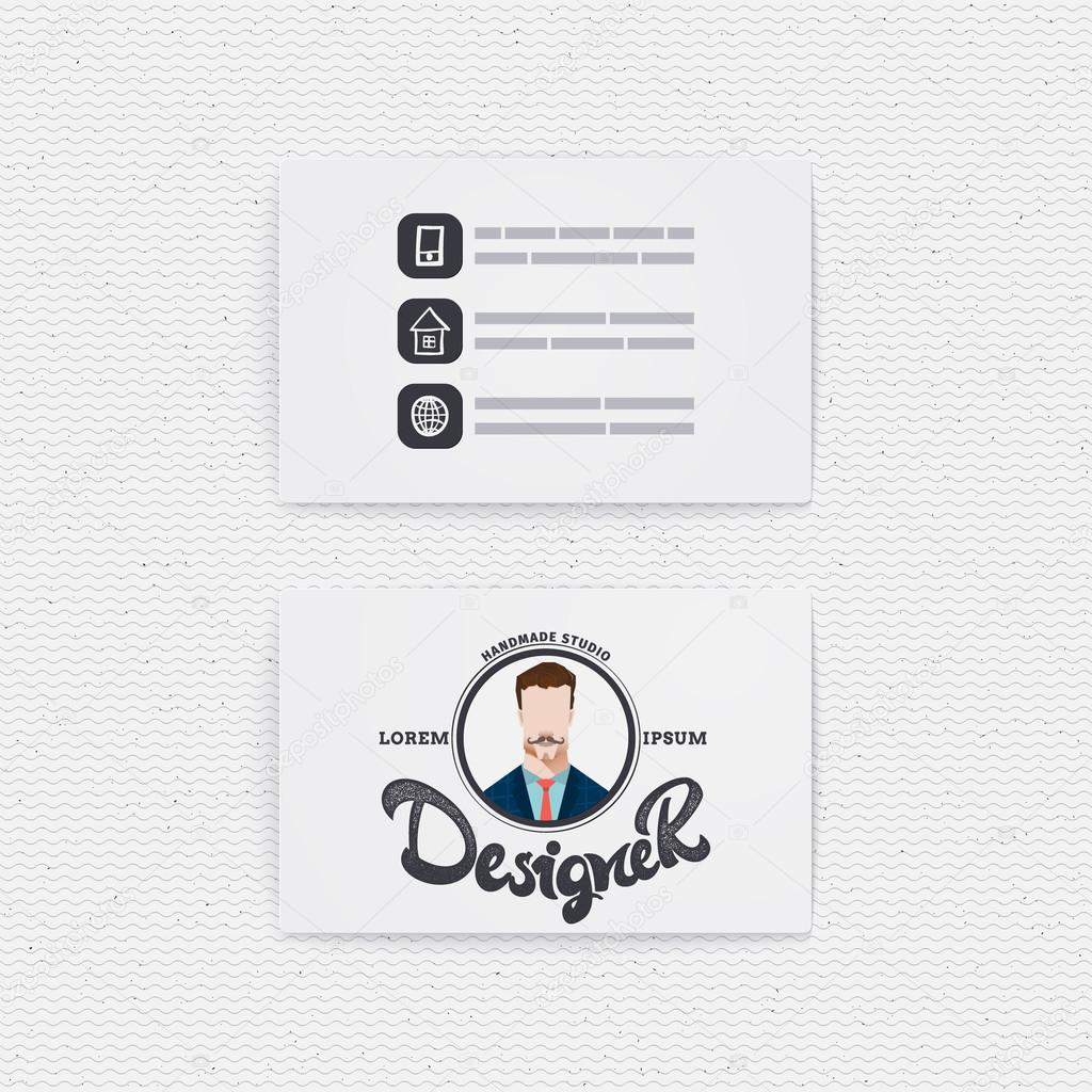 Business card with a logo designer hipster illustration on the spot business card with a logo designer hipster illustration on the spot photos can be used reheart Images