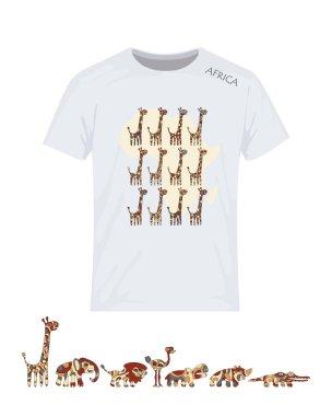 Africa, set, giraffes. Vector design for printing on T-shirt