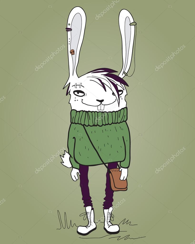 Hare Hipster Teen Boy Fashionable Portrait Of The Animal In The Youth