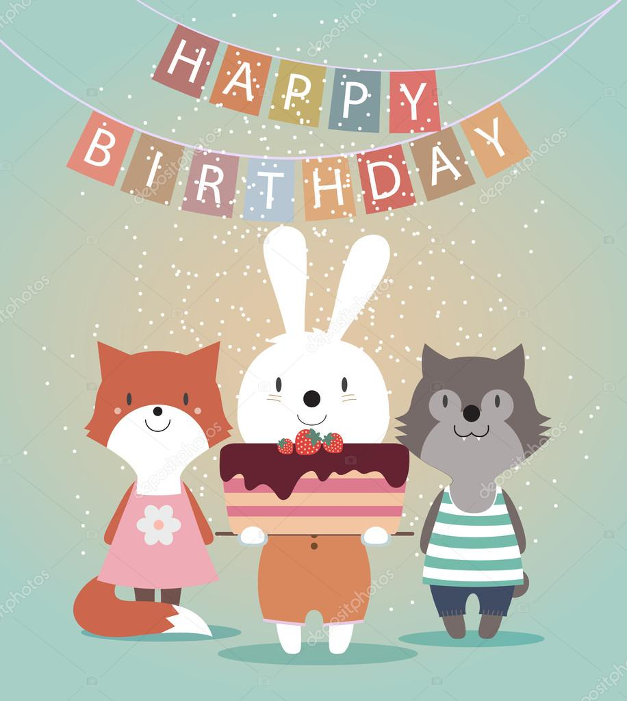 Cute Happy Birthday Card With Funny Animals Stockillustration