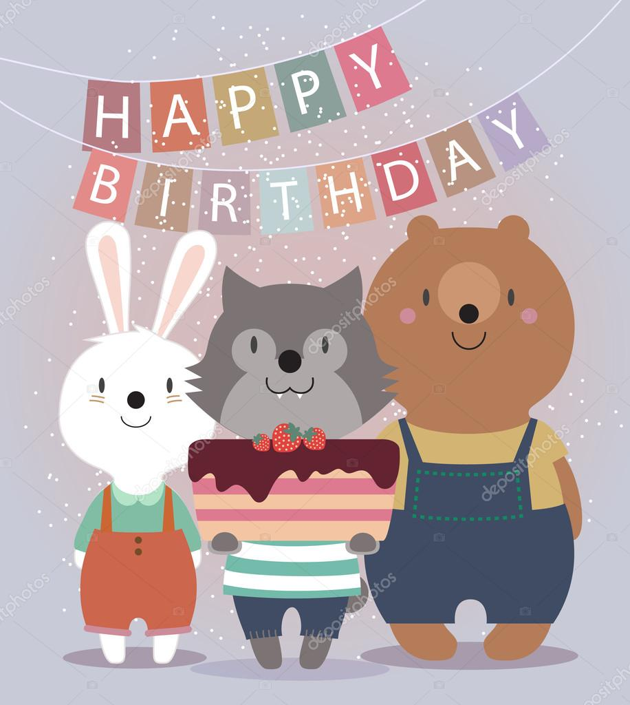 Cute Happy Birthday Card With Funny Animals Bear Hare Wolf And Cake Vector Illustration Eps10 By SMSka