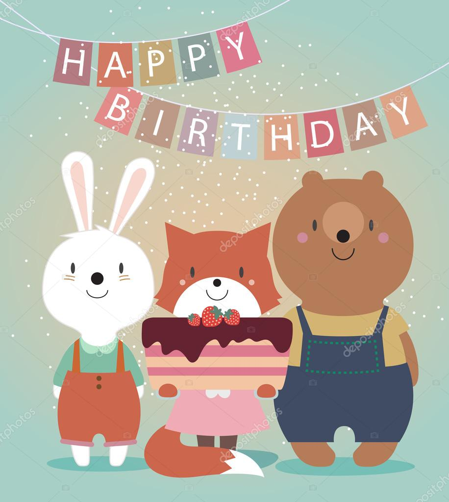 Cute-Happy-Birthday-card-with-funny-animals
