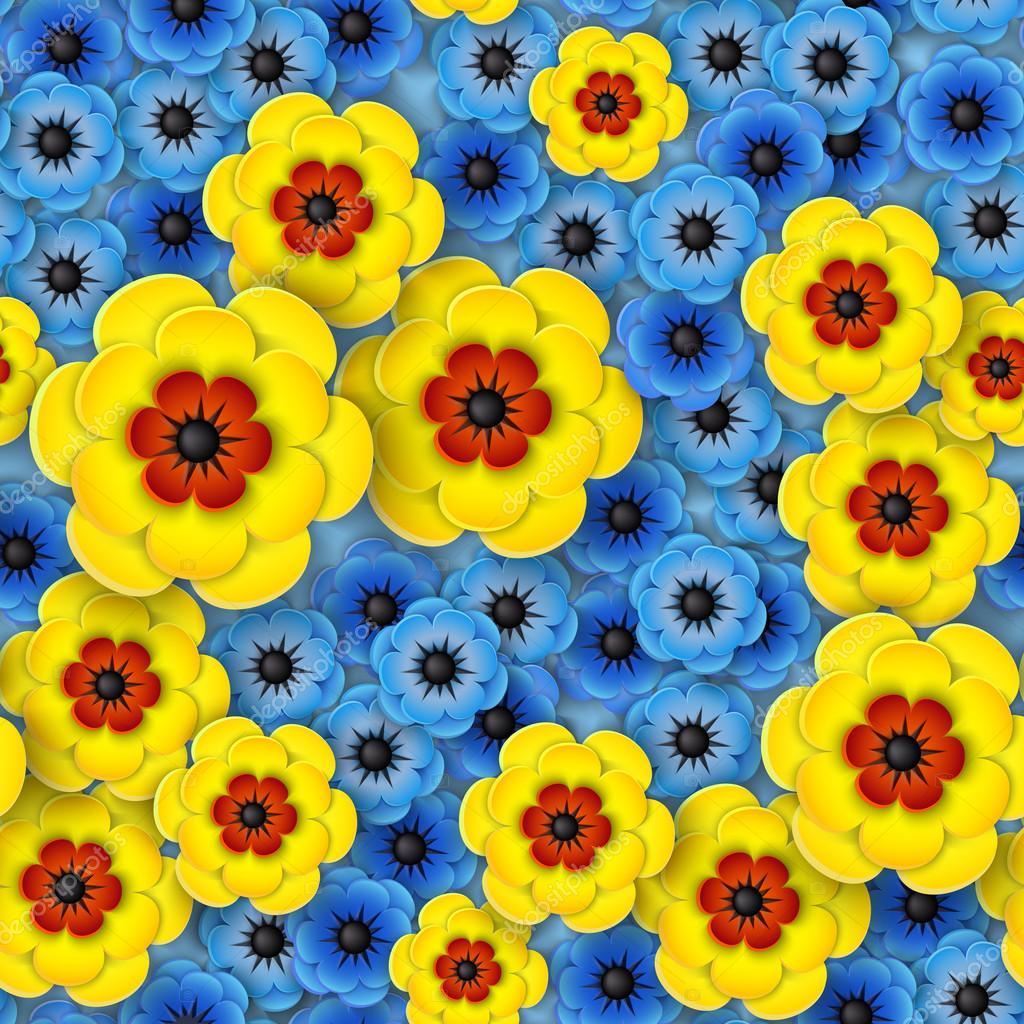3d Seamless Pattern With Yellow And Blue Flowers Stock Vector