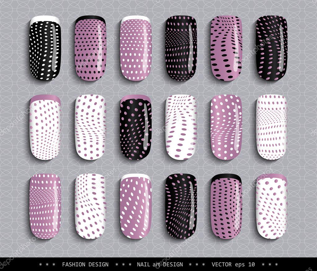 Nail Design Pink Black White Dots Pattern Stockvector Smska