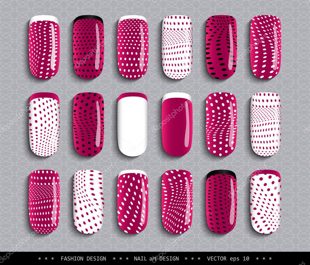 Nail design raspberry black white dots pattern stock vector nail art design a set overhead nail labels stickers elements for design ideas for manicure pedicure beauty salons modeling agencies fashion trends prinsesfo Choice Image