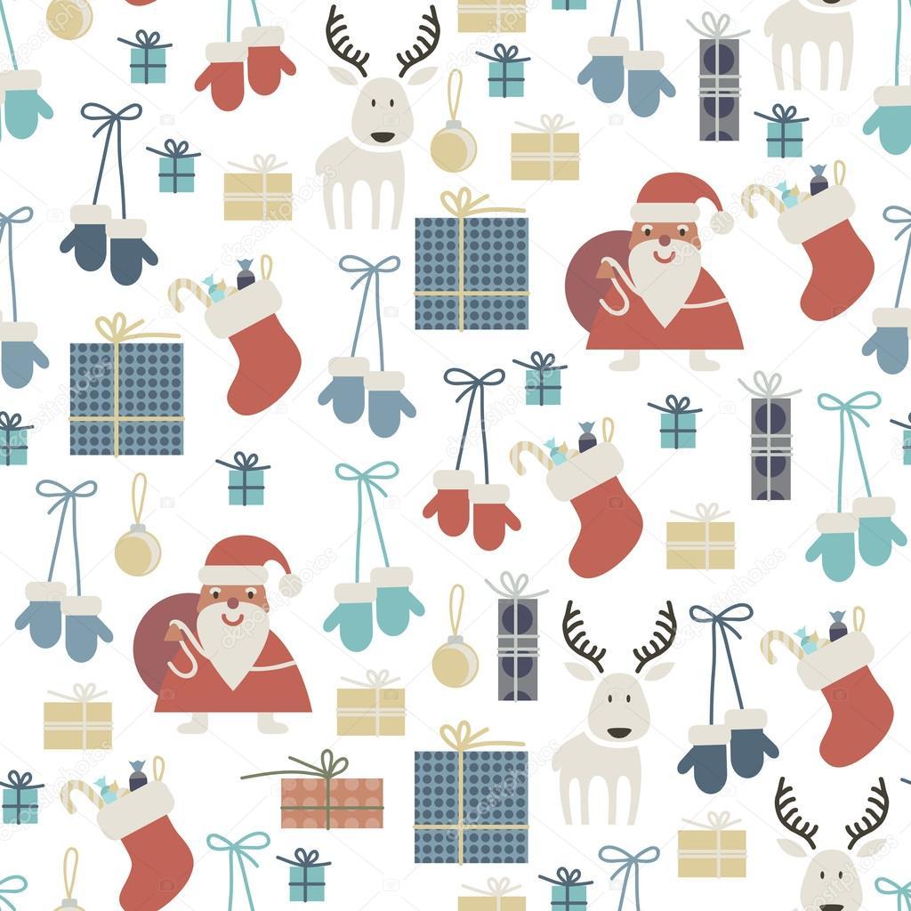 patrones sin fisuras con accesorios de la Navidad — Vector de stock ...