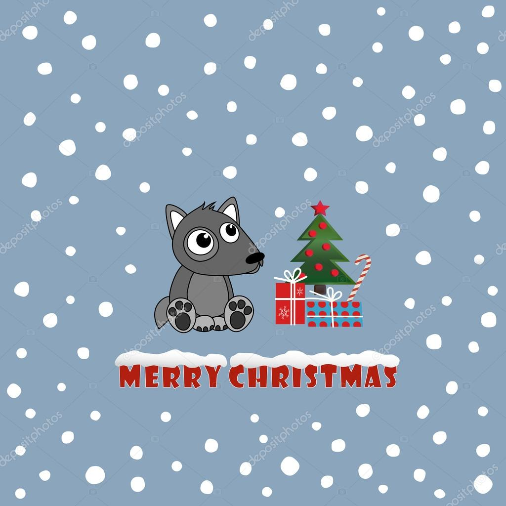 new year card cute christmas background with wolf cub eps10 vector file organized in layers for easy editing vector by smska
