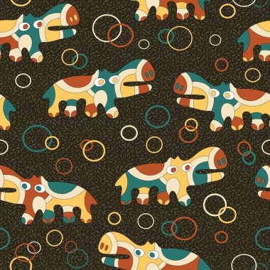 Seamless background with psychedelic hippos