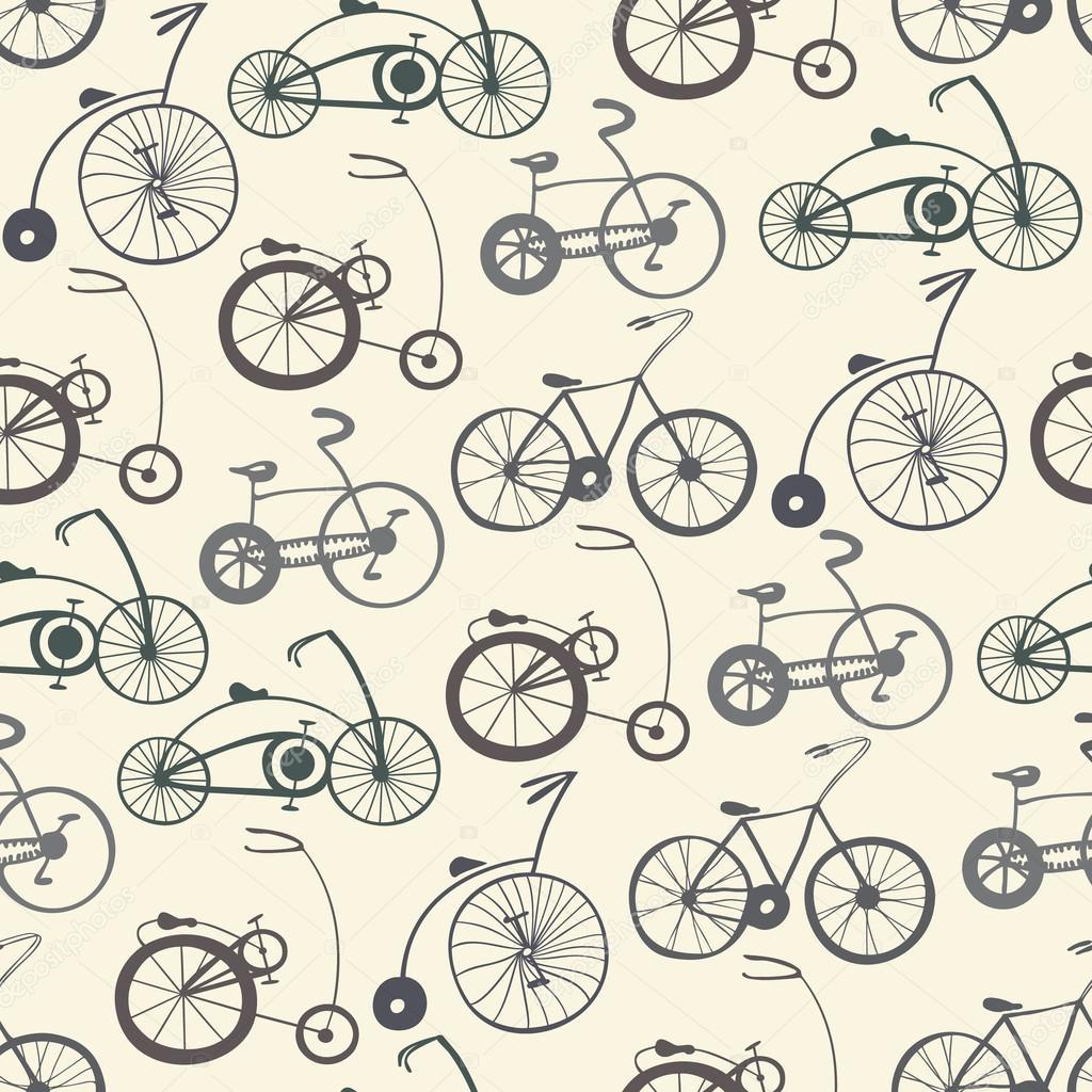 Patrón sin fisuras con las bicicletas vintage — Vector de stock ...