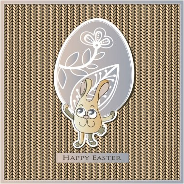 Easter card on a knitted background in frame. EPS10 vector file organized in layers for easy editing. clip art vector