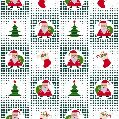 Seamless Christmas pattern with Santa Claus, Christmas trees and gifts on background p