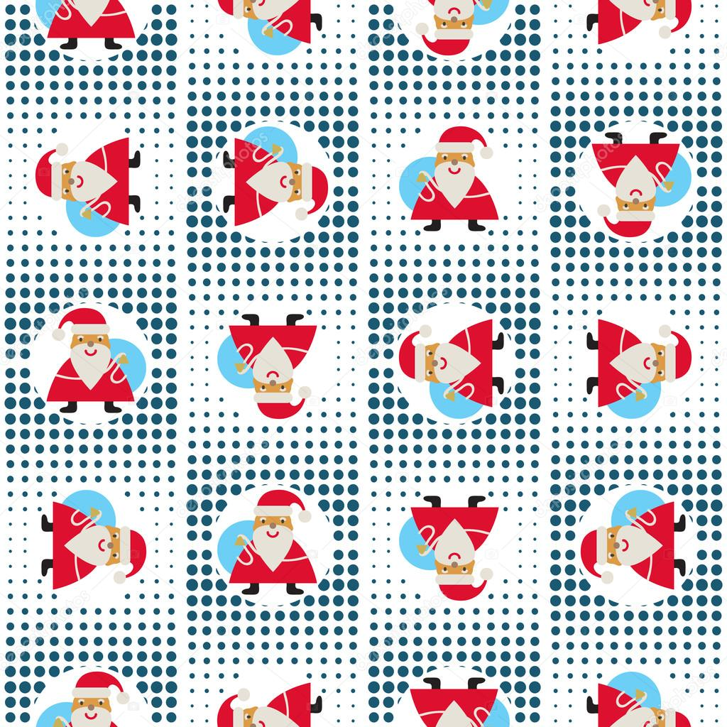 Seamless New Years Abstract Pattern With Santa Claus On A