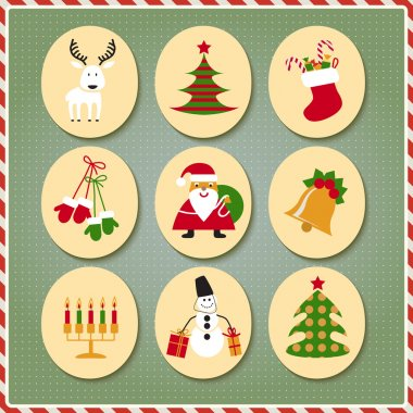 Christmas set Santa Claus, reindeer, stockings, gifts, candles, Christmas tree, snowman, candy