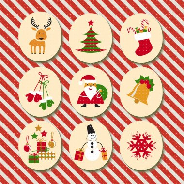Christmas set Santa Claus, reindeer, stockings, gifts, candles, Christmas tree, snowman,snowflake, candy