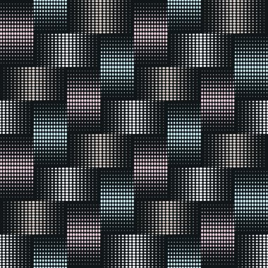 Seamless background of points with effect weave in silver, blue and pink colors