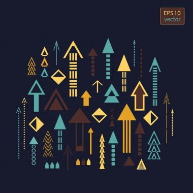 Set of bright colorful creative arrows on a dark background