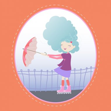 Girl on roller skates with an umbrella on a windy day