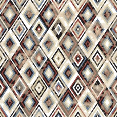 Vintage seamless geometric pattern with grunge effect