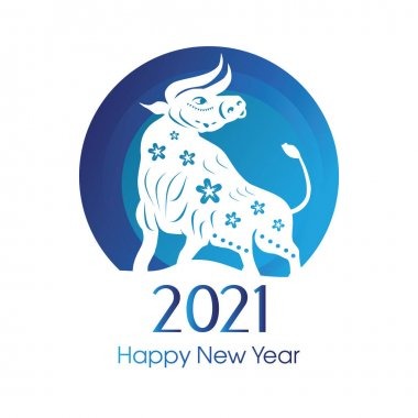 Bull New Year. Happy New Year. Chinese zodiac symbol of new 2021 year. Bull, ox, cow. Blue. Winter holidays. icon
