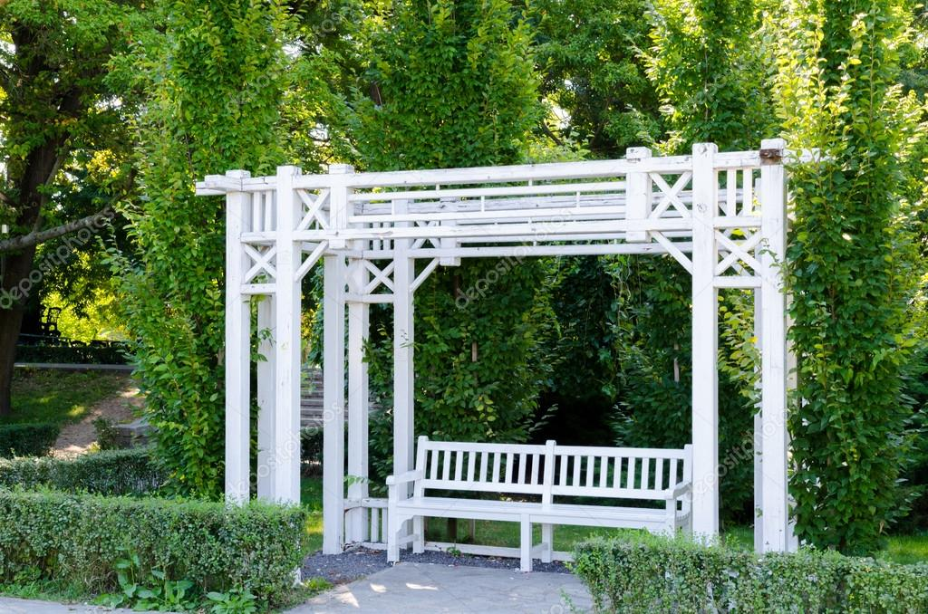 A Beautiful Gazebo And Bench Painted In White Park Photo By Georgeion88
