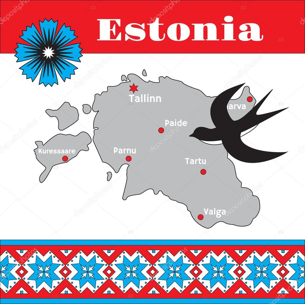 Estonian traditional pattern, map and national symbols