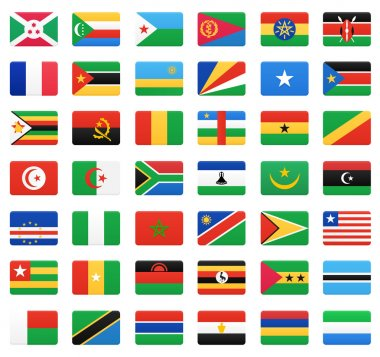 African countries flags. Vector icons set.