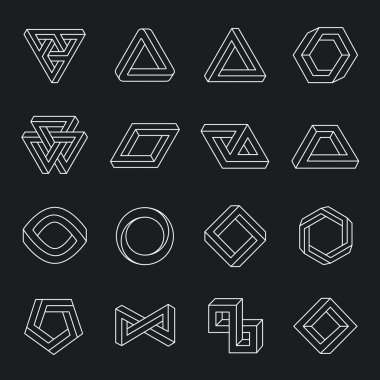 Set of impossible shapes. Optical Illusion. Vector Illustration isolated on white stock vector