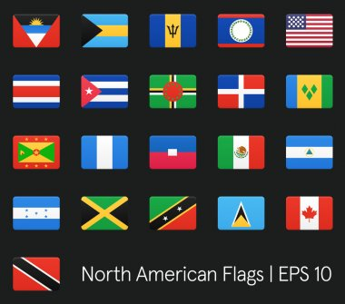 North American flags. Vector icons set.