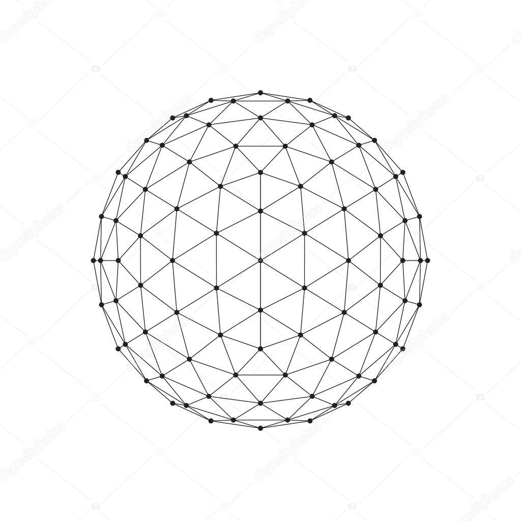 3d ikosaeder wireframe netzkugel. netzwerkleitung, hud design