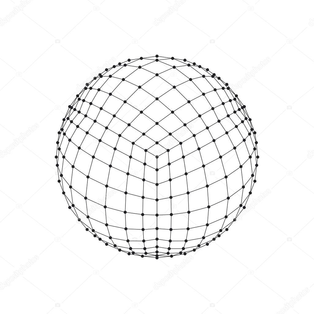3d hexaeder wireframe netzkugel. netzwerkleitung, hud design bereich